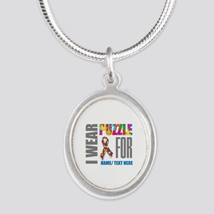 Autism Awareness Ribbon Custo Silver Oval Necklace