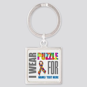 Autism Awareness Ribbon Customized Square Keychain