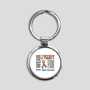 Autism Awareness Ribbon Customized Round Keychain