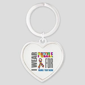 Autism Awareness Ribbon Customized Heart Keychain