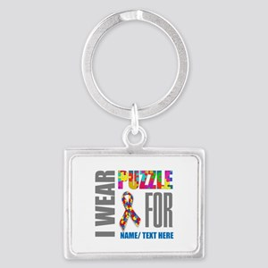 Autism Awareness Ribbon Customi Landscape Keychain