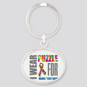 Autism Awareness Ribbon Customized Oval Keychain