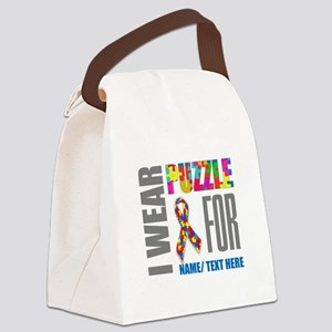 Autism Awareness Ribbon Customize Canvas Lunch Bag