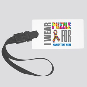 Autism Awareness Ribbon Customiz Large Luggage Tag