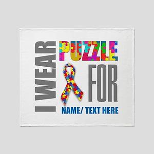 Autism Awareness Ribbon Customized Throw Blanket