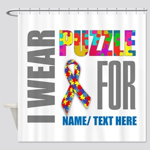 Autism Awareness Ribbon Customized Shower Curtain