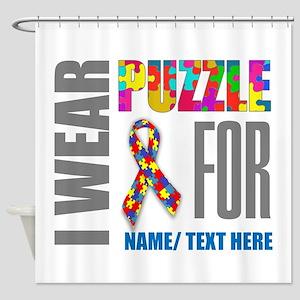 Autism Awareness Ribbon Customized Shower Curtain