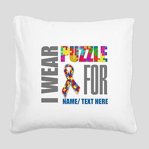 Autism Awareness Ribbon Custo Square Canvas Pillow