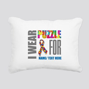 Autism Awareness Ribbon Rectangular Canvas Pillow