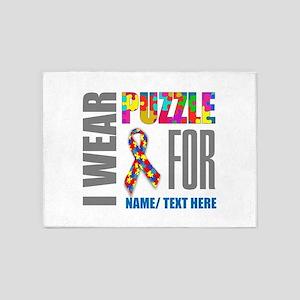 Autism Awareness Ribbon Customized 5'x7'Area Rug