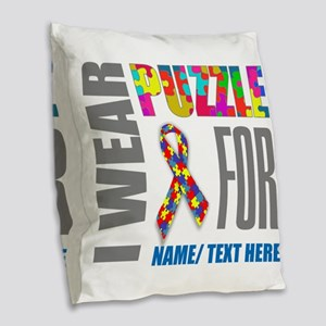 Autism Awareness Ribbon Custom Burlap Throw Pillow