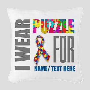 Autism Awareness Ribbon Custom Woven Throw Pillow