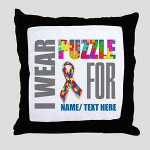 Autism Awareness Ribbon Customized Throw Pillow
