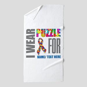 Autism Awareness Ribbon Customized Beach Towel