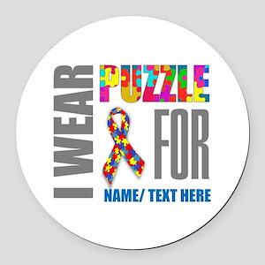 Autism Awareness Ribbon Customize Round Car Magnet