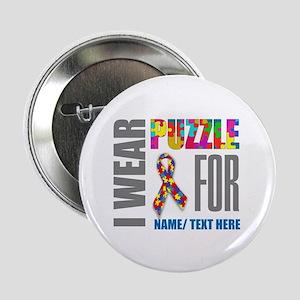 """Autism Awareness Ribbon Customized 2.25"""" Button"""