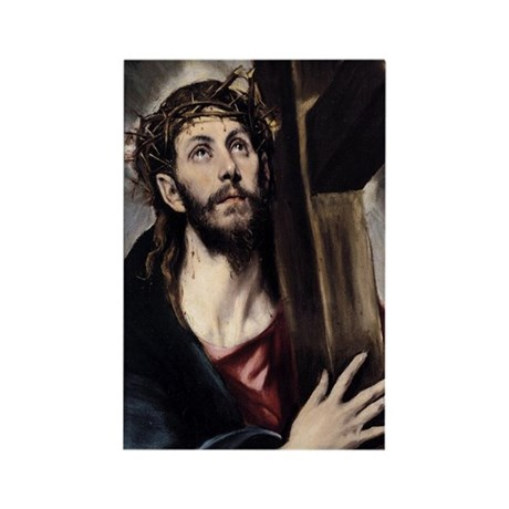 Christ carrying the Cross Rectangle Magnet (10 pac