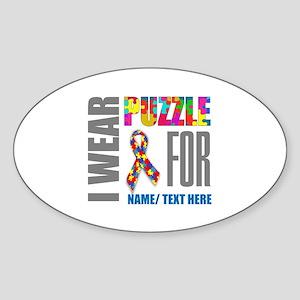 Autism Awareness Ribbon Customized Sticker (Oval)