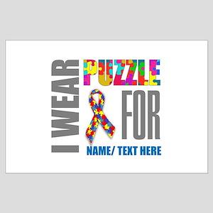 Autism Awareness Ribbon Customized Large Poster