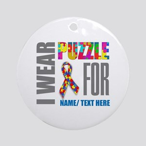 Autism Awareness Ribbon Customized Round Ornament