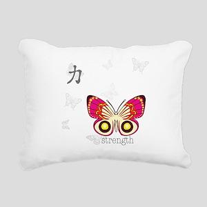 Strength Kanji Butterfly Rectangular Canvas Pillow