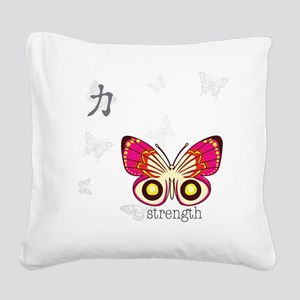 Strength Kanji Butterfly Square Canvas Pillow