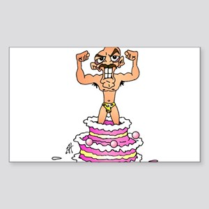 Man jumping out of a birthday cake Sticker (Rectan