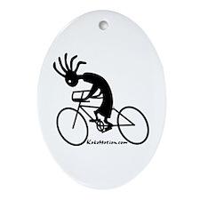 Kokopelli Road Cyclist Oval Ornament