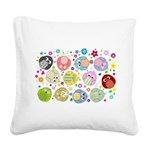 Cute cartoon owls and colorful flowers pattern Squ