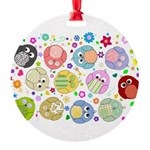 Cute cartoon owls and colorful flowers pattern Rou