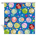 Blue Owl pattern Shower curtain