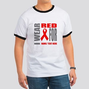 Red Awareness Ribbon Customized Ringer T