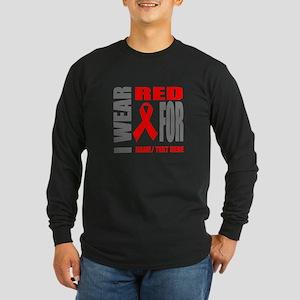 Red Awareness Ribbon Cust Long Sleeve Dark T-Shirt