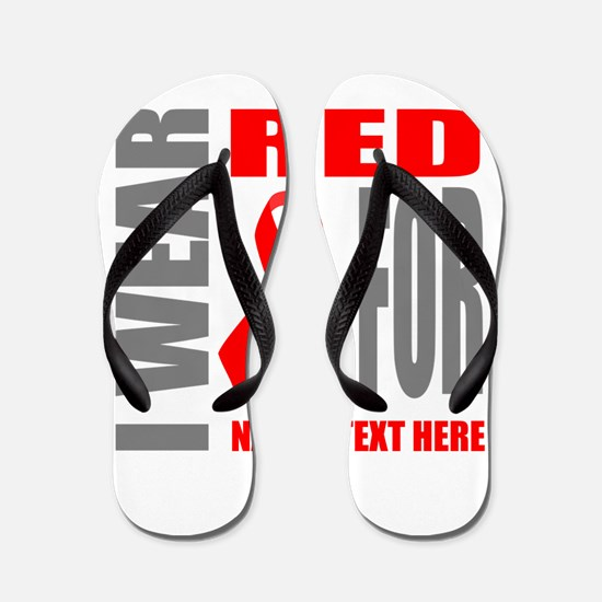 Red Awareness Ribbon Customized Flip Flops
