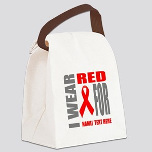 Red Awareness Ribbon Customized Canvas Lunch Bag
