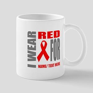Red Awareness Ribbon Customized 11 oz Ceramic Mug
