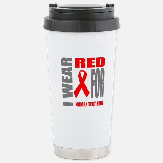 Red Awareness Rib Travel Mug