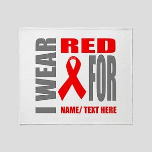 Red Awareness Ribbon Customized Throw Blanket
