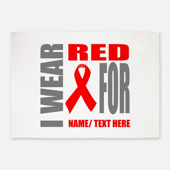 Red Awareness Ribbon Customized 5'x7'Area Rug