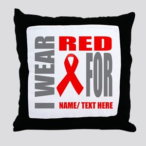 Red Awareness Ribbon Customized Throw Pillow