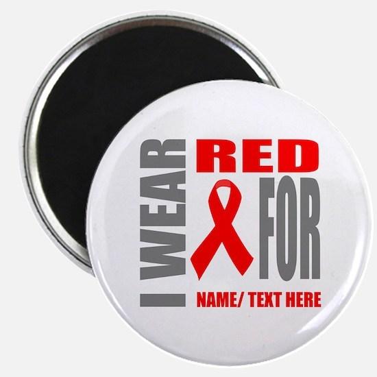 """Red Awareness Ribbon Custom 2.25"""" Magnet (10 pack)"""