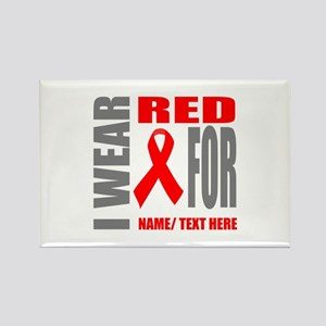 Red Awareness Ribbon Customized Rectangle Magnet