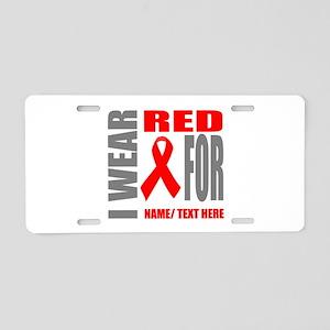 Red Awareness Ribbon Custom Aluminum License Plate