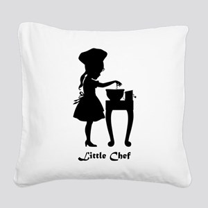 Little Chef and Mixing Bowl Square Canvas Pillow
