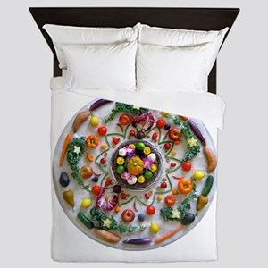 Fruit & Veggie Mandala Queen Duvet