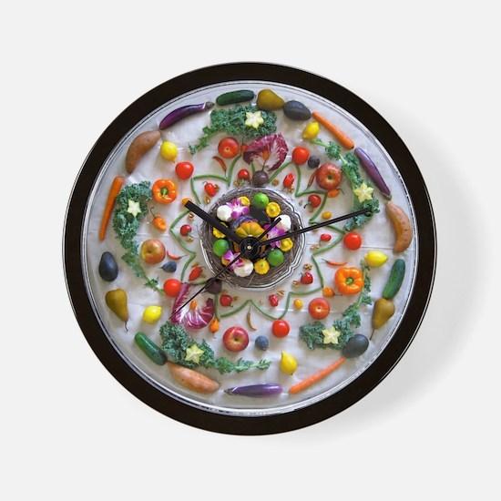 Fruit & Veggie Mandala Wall Clock