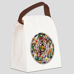 Fruit & Veggie Mandala Canvas Lunch Bag