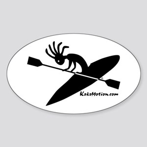 Kokopelli Kayaker Oval Sticker