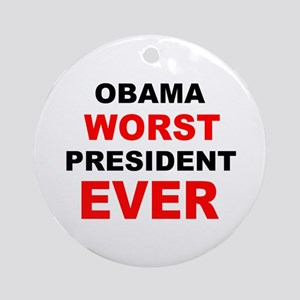 anti obama worst presdarkbumplL Ornament (Roun