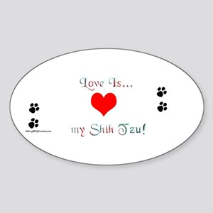 Shih Tzu Love Oval Sticker